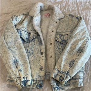 Faux-fur lined jean jacket
